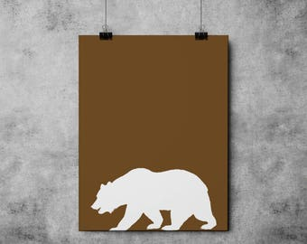 The Brown Bear INSTANT DOWNLOAD Bear, Nature Print, Downloadable - Original Illustration Fine Art Quality Print 4 DOLLARS Printable diy