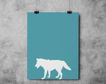 Blue Wolf, INSTANT DOWNLOAD, forest, wolf, Nature Print, Downloadable - Original Illustration Fine Art Quality Print 4 DOLLARS Printable diy
