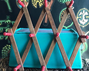 Vintage red primitive wooden folding peg accordion rack for rustic mudroom or jewelry organizer
