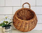 Vintage hanging wall basket for plants or mail. Retro rustic primitive woven wicker planter wall pocket made of twigs vine, plant lady gift
