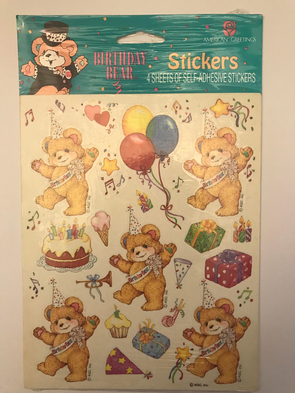 Vintage Happy Birthday Teddy Bear Stickers By American Greetings