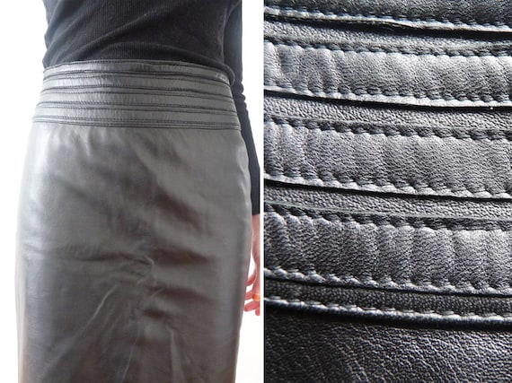 Black leather skirt, black leather pencil skirt, p