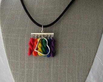Rainbow love micro-skein necklace