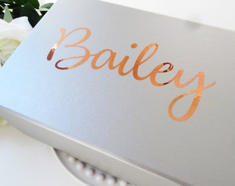 Personalised Custom name word vinyl decal sticker water bottle gift box wedding