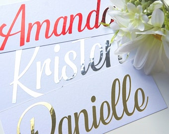 Name Stickers, Personalized Decals, Name Decal, Planner Decor, Wine Glass Decal, Hen Party, Gold Name Stickers, Chrome Decal, Wedding Favour
