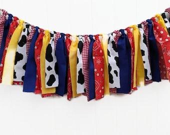 Western Garland, Western Banner,  Birthday Decorations, Photo Prop, Woody and Jessie   Smash Cake Decor, Fabric Garland