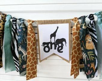 Jungle Safari High Chair Banner, Jungle Party, Safari Decoration, Photo Prop, Jungle Highchair Garland,  Zoo Animals, Wild One Garland