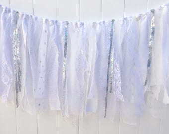 White and Silver, Wedding backdrop, Scrappy Banner, Fabric Banner, Fabric Garland, Wedding Shower,  Photo Prop, Baby Shower