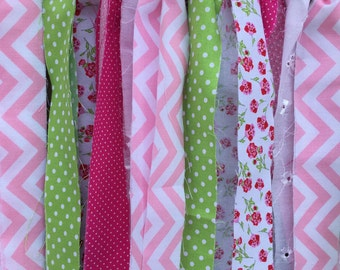 Scrappy Banner, Hot Pink Green and White, Fabric Garland, Fabric Banner, Girls room decor,  Photo Prop, High Chair Banner, Home Decor