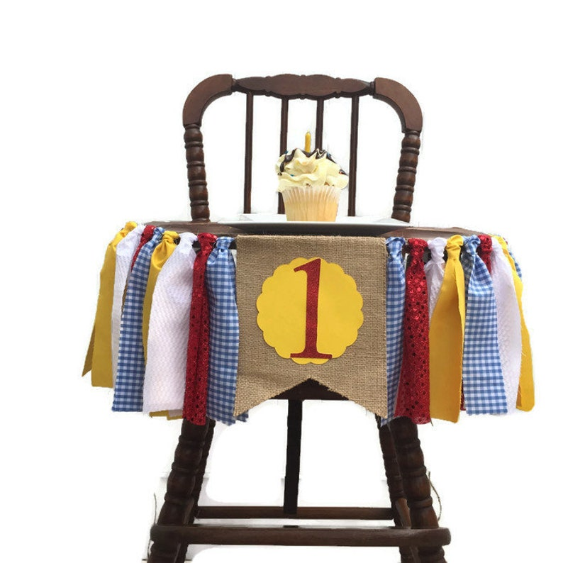 WIZARD OF OZ Fabric Highchair Banner 1st Birthday High Chair Dorothy Party  Photo Prop Smash Cake Bunting  Banner and Flag Wizard Party