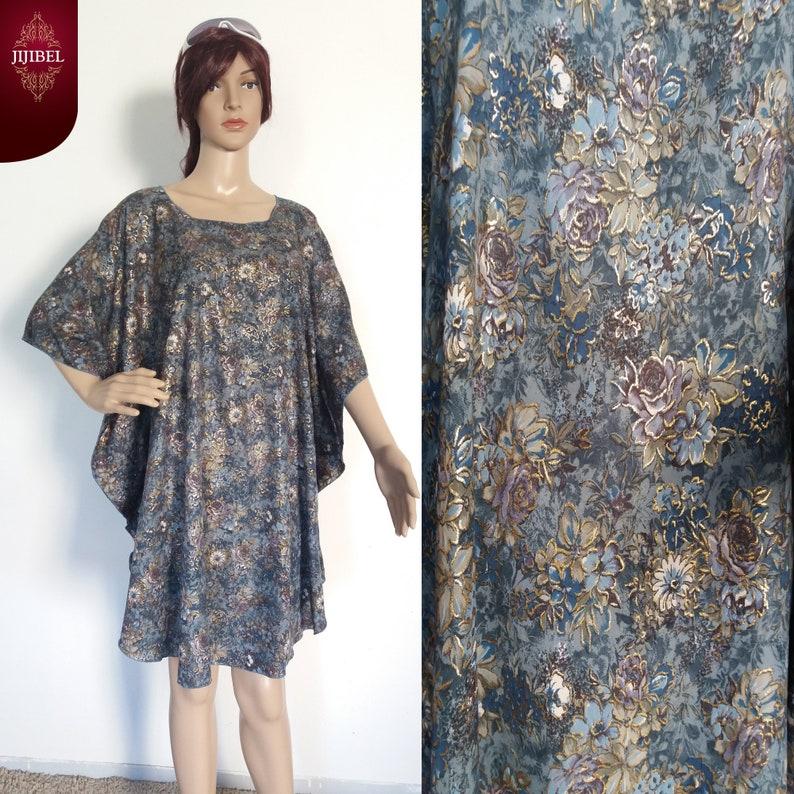 d2284839e74 Robe Chic et Décontractée Bleue Imprimée Fleurs Robe Oversize