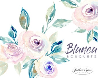 watercolor flowers clipart blue flowers blue roses spring etsy