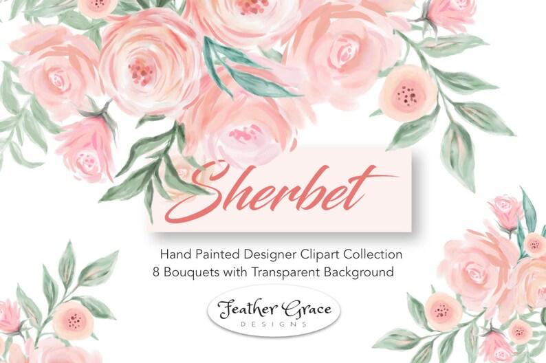 df86d32037067 Wedding Clip Art Florals Blush Flowers Bouquet Watercolor