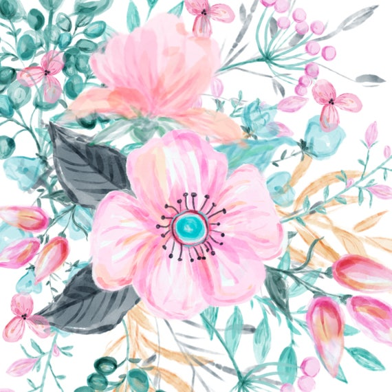 Watercolor hand painted clipart watercolor flowers clipart etsy 50 mightylinksfo