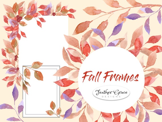 Fall Leaves Watercolor Clipart, Autumn, Frames, Logo, Leaves Border ...