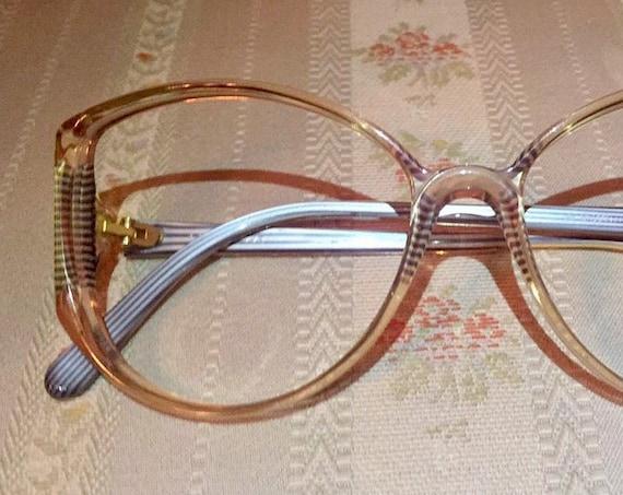 Vintage 80's La Difference Navy Blue Striped Translucent/Gold Detailed Glasses/Frames