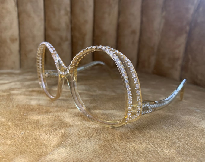 Vintage 70's Revue Golden Clear Round Rhinestone Glasses Frames