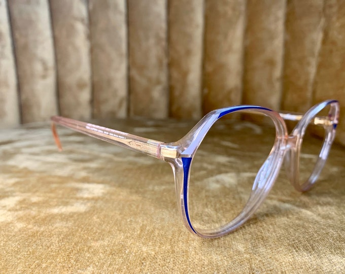 Vintage 70's Silhouette Blue Patterned Glasses Frames