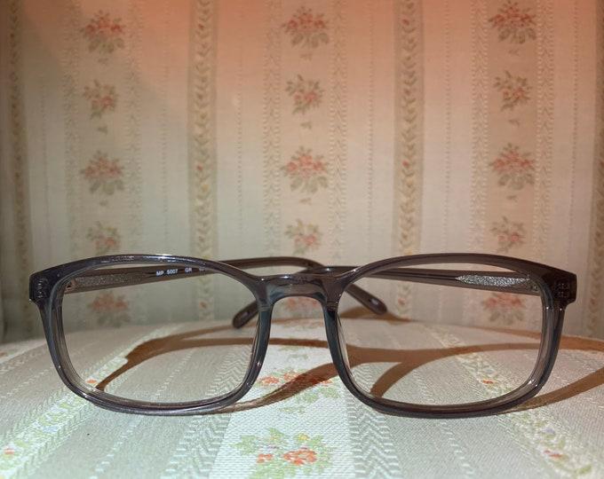 Vintage 80's Greyish Blue Acetate Clear Ombré Glasses Frames