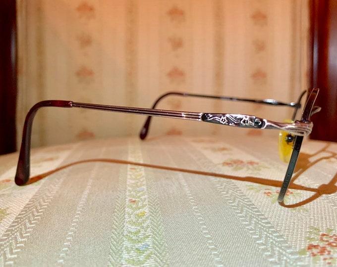 Vintage 80's Burgundy/Silver Floral Design Children's Glasses