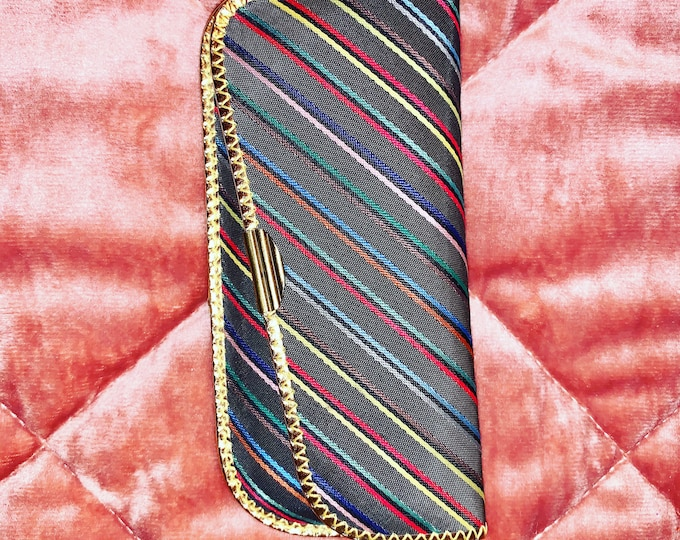 Vintage 60's Multicolor Striped Eyewear Glasses Case