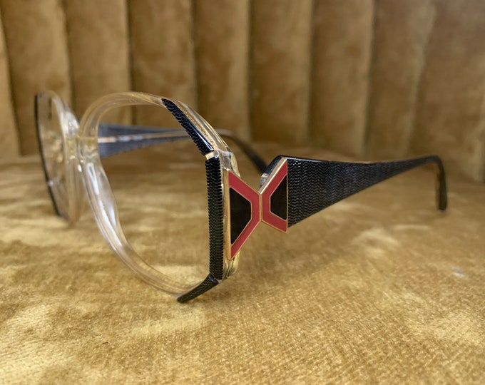 Vintage 80's Silhouette Black and Red Art Deco Glasses Frames