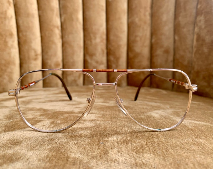 Vintage 70's Brown and Gold Jourdache Aviator Glasses Frames