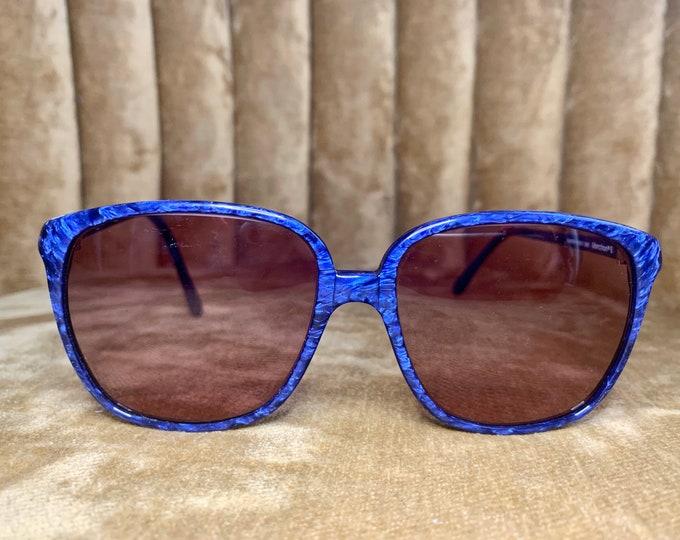 Vintage 80's Royal Blue Marble Marchon Marcolin Sunglasses