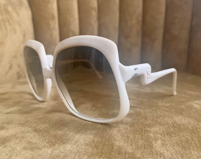 Vintage 70's Solban White Gradient Brown Lens Sunglasses