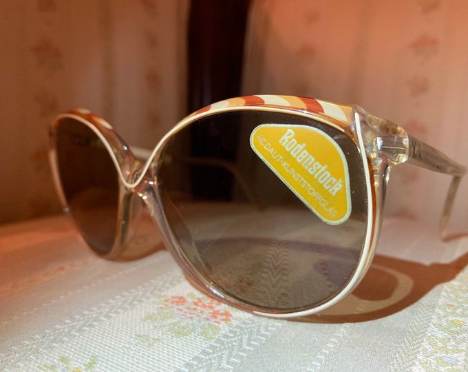 Vintage 70's NOS Rodenstock Brown and Yellow Twist Design Sunglasses