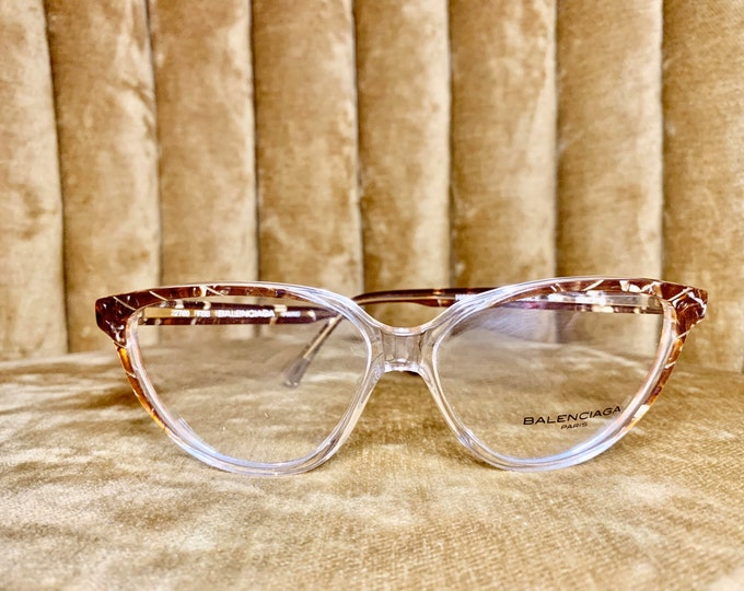 Vintage 80's NOS Brown and Gold Flake Balenciaga Logo Glasses Frames
