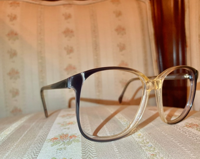 Vintage 1980's Clear and Grey Glasses Frames