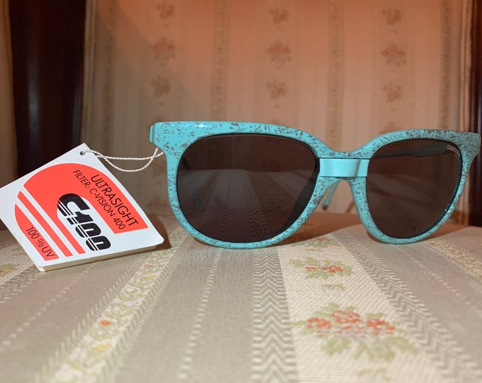 Vintage 80's NOS Carrera Turquoise and Gold Sunglasses