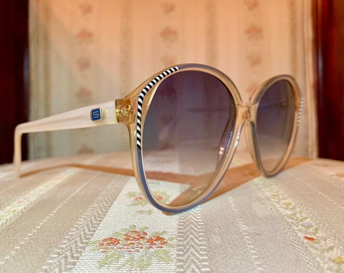 Vintage 80's NOS Silhouette Blue lensed Striped Cream Sunglasses