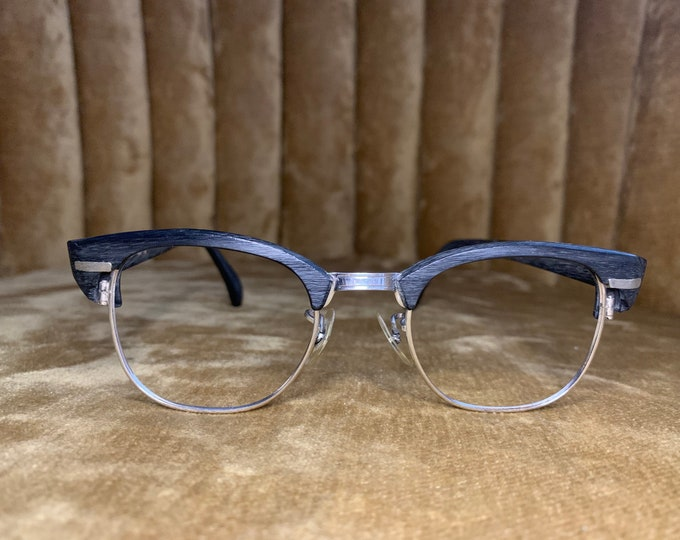 Vintage 60's Black Woodgrain Horned Rim Glasses Frames
