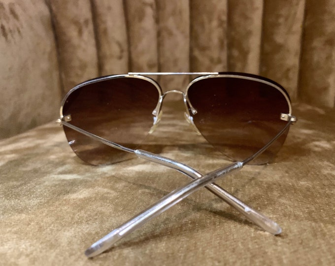 Vintage 80's Brown Gradient Lens Aviator Sunglasses