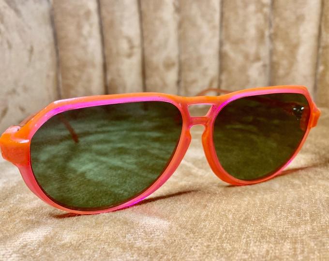 Vintage 80's Orange/Pink Aviator Sunglasses