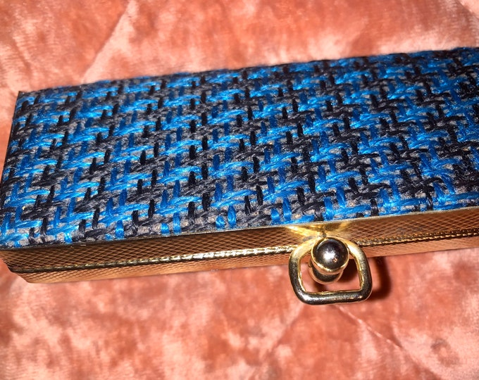 Vintage 60's Blue Tweed Pattern Glasses Case