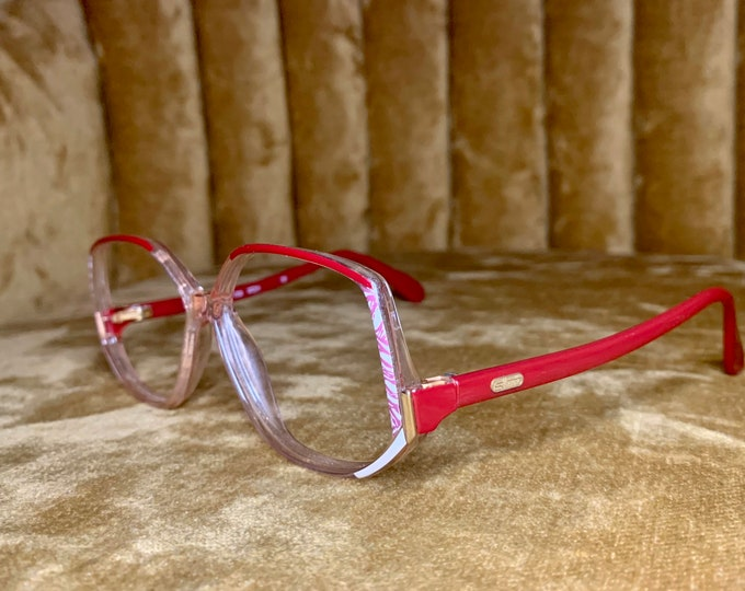 Vintage 80's Silhouette Red and White Gold Logo Glasses Frames