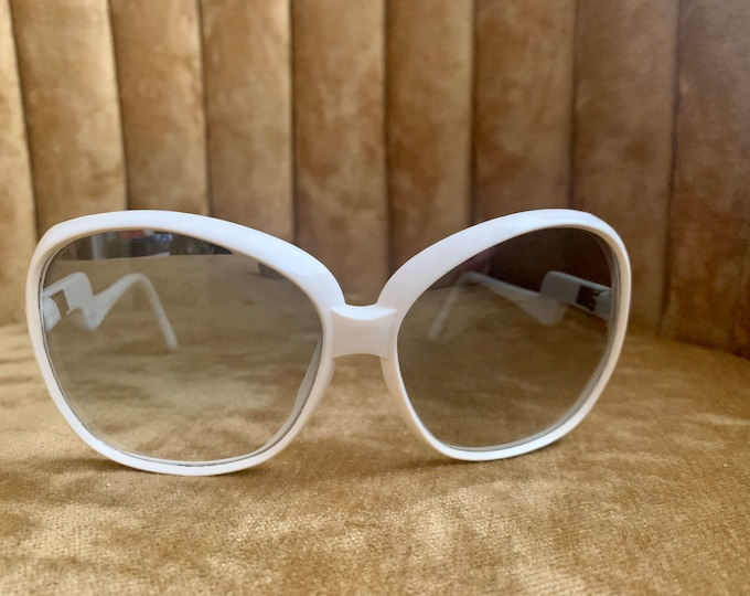 Vintage 70's Solban White Mirrored Lens Sunglasses
