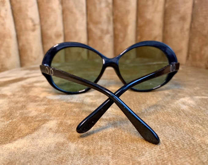 Vintage 70's Persol Black Green Lens Sunglasses