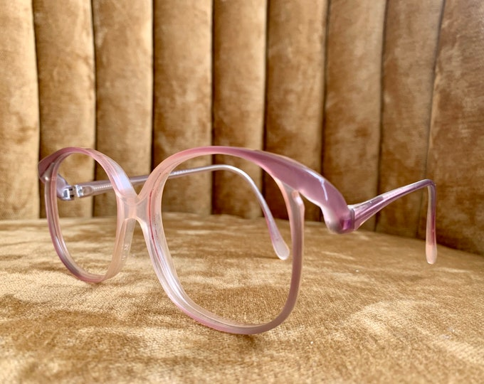 Vintage 70's Light Fuchsia Purple Drop Arm Glasses Frames