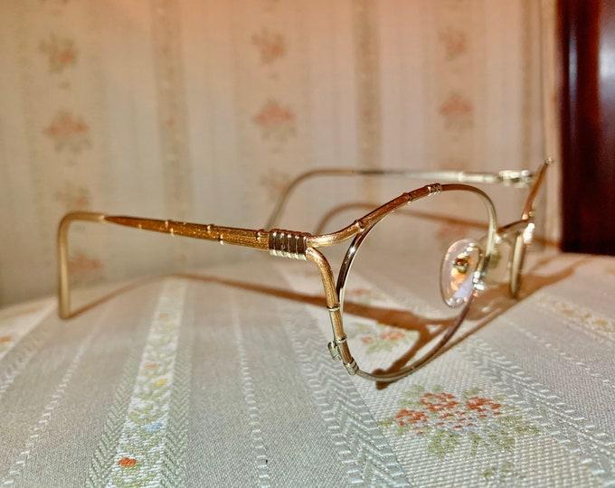 Vintage 80's Ted Lapidus Gold Logo Glasses Frames