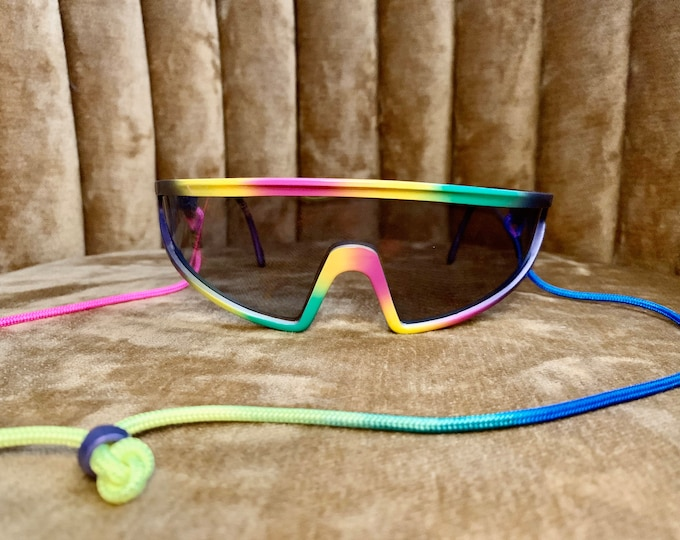 Vintage 80's Carrera 5496 Rainbow Multicolor Sunglasses Sports Goggles