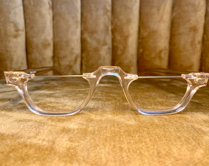 Vintage 80's Acetate Half Moon Rim Glasses Frames