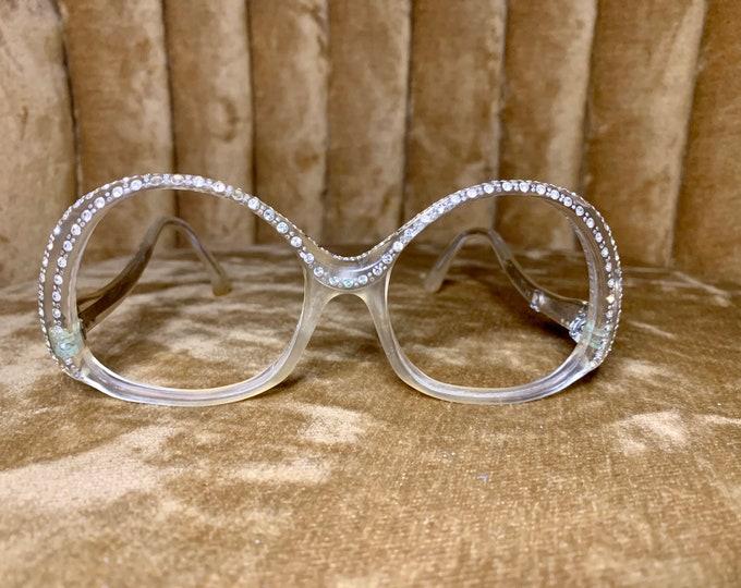 Vintage 70's Revue Clear Round Rhinestone Glasses/Frames