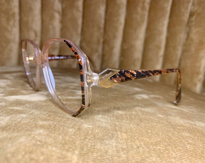 Vintage 80's Silhouette Brown Marble and Gold Glasses/Frames