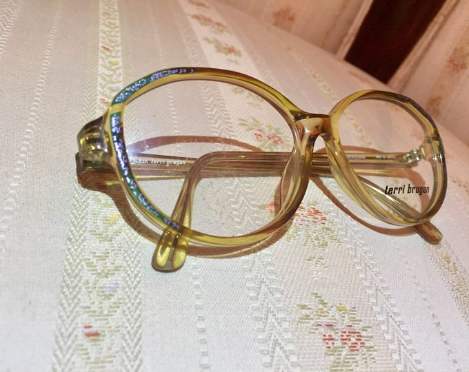 Vintage 80's NOS Optyl Terri Brogan Amber/Blue Glasses/Frames