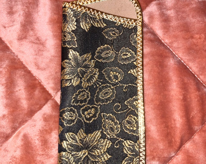 Vintage 80's Gold and Black Floral Eyewear Glasses Case