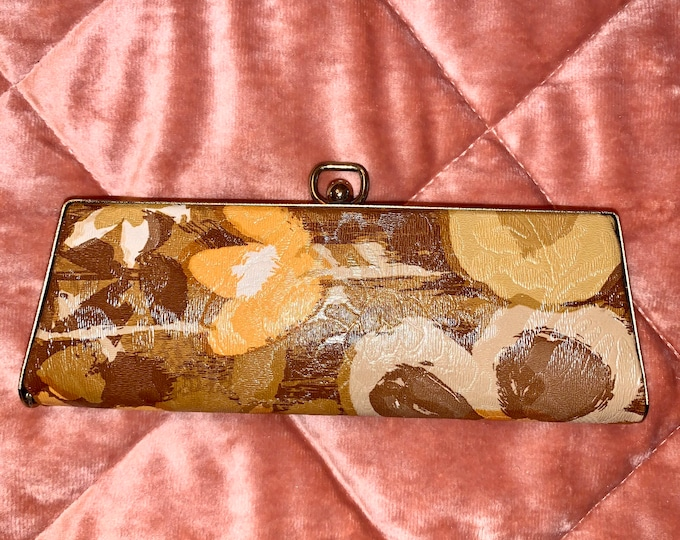 Vintage 60's Floral and Brass Eyewear Glasses Case